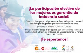 Con éxito iniciaron los talleres con enfoque de Género para las mujeres del Cauca.