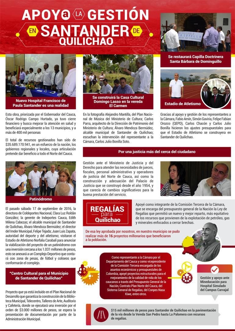 Representante a la cámara Carlos Julio Bonilla Soto, presento informe de apoyo a la gestión en Santander de Quilichao
