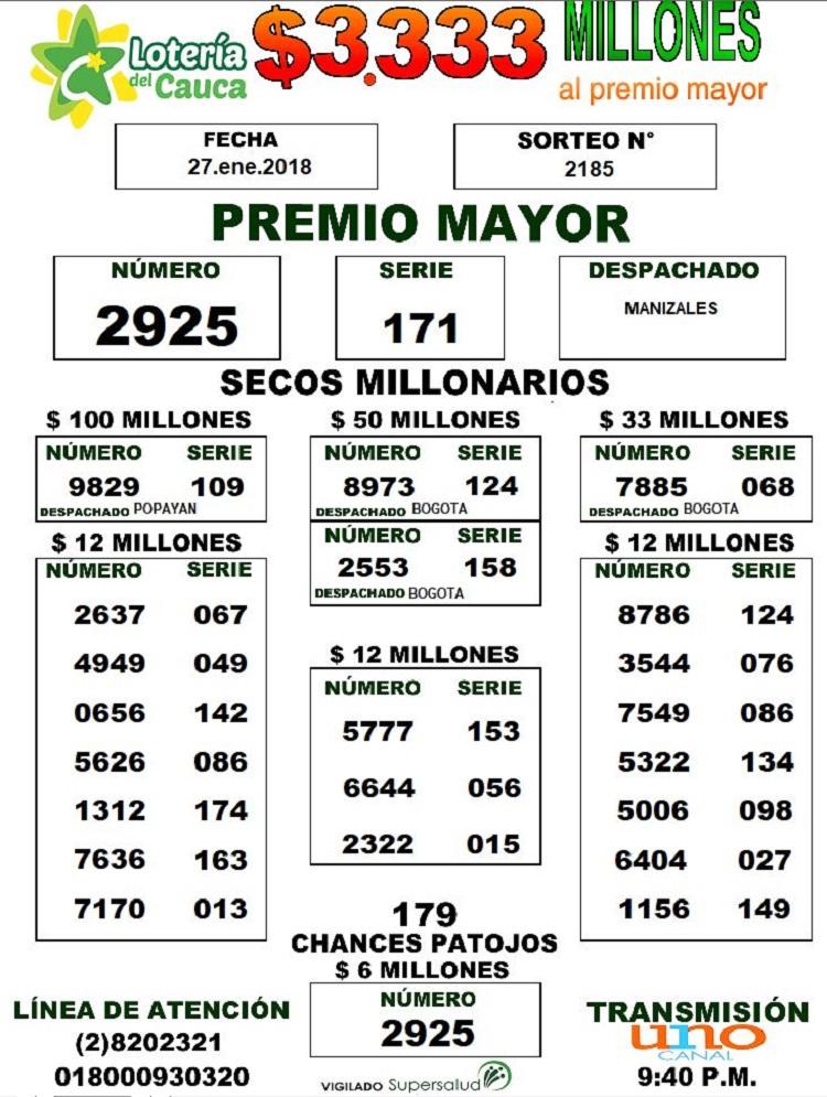 Sorteo loteria del cauca enero 27 de 2018